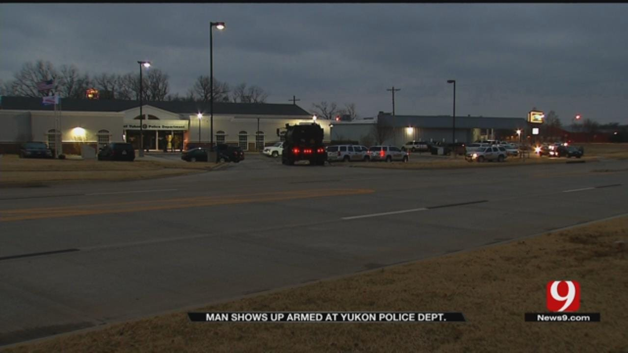 Suspect In Custody Following Standoff In Front Of Yukon Police Department