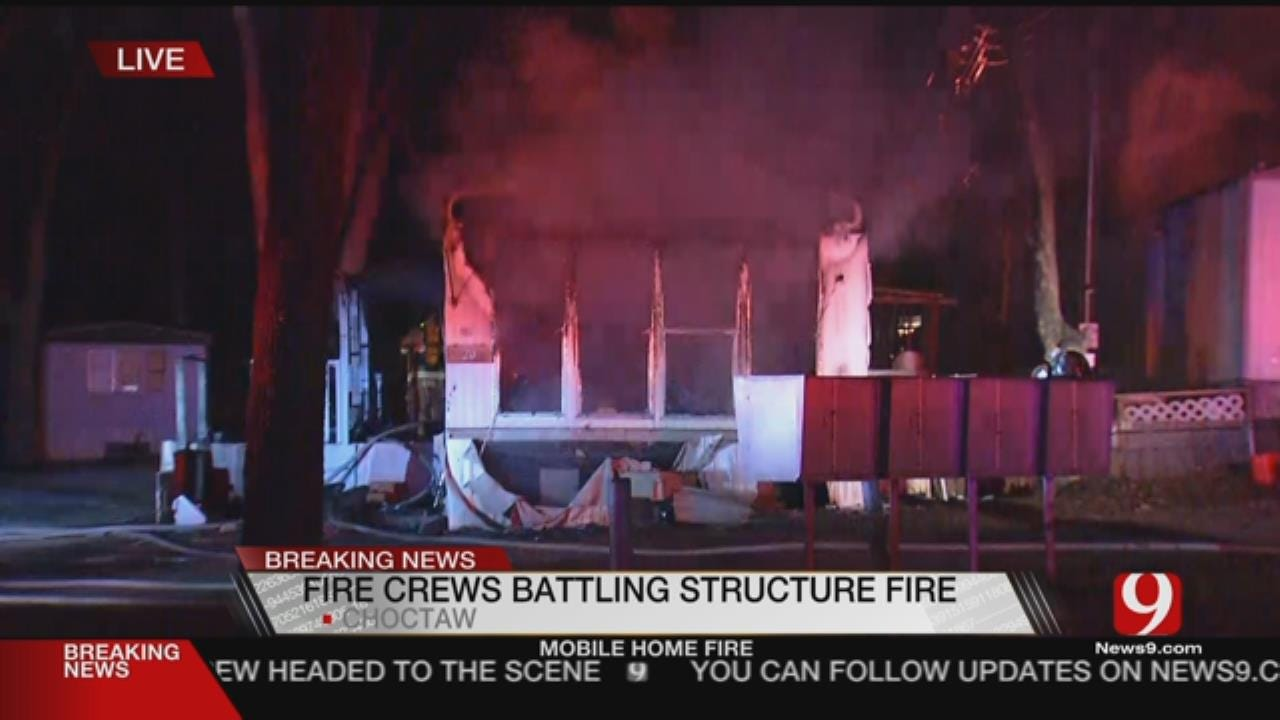 Crews Respond To Choctaw Mobile Home Fire