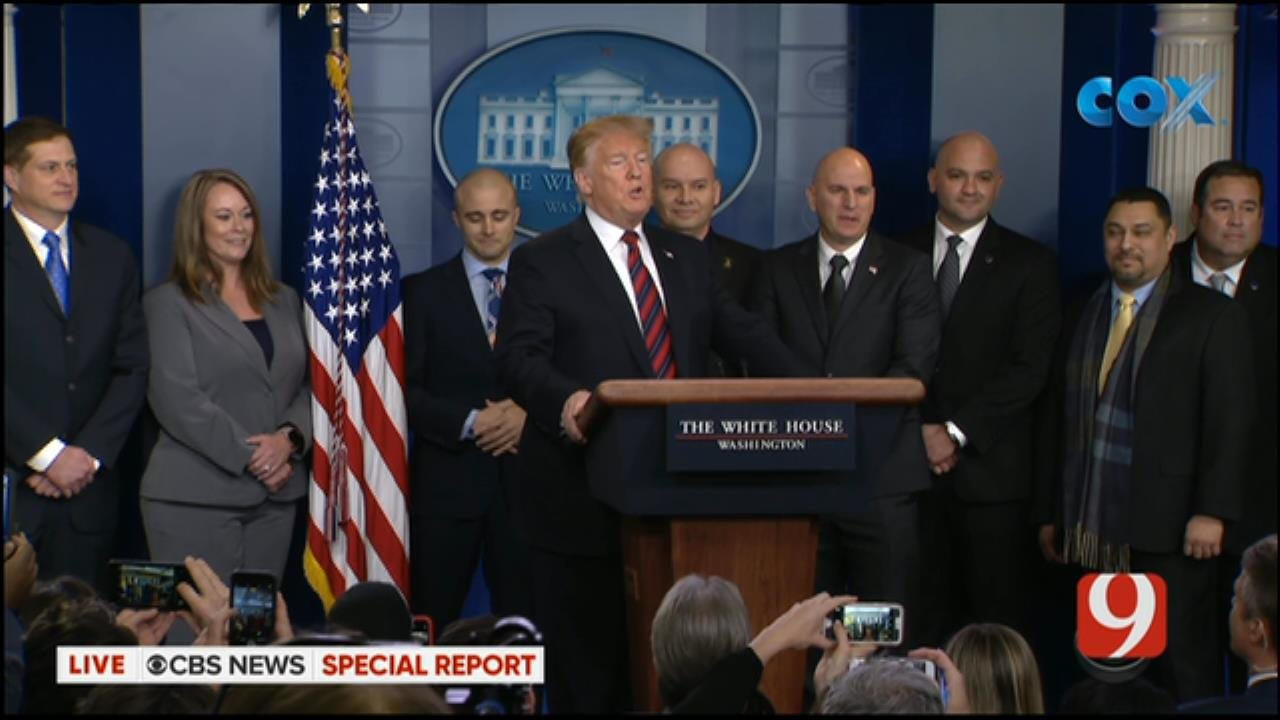 President Trump Makes Surprise Appearance In White House Briefing Room