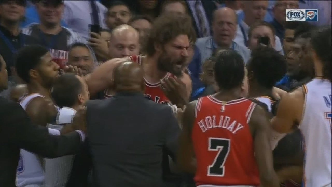 WATCH: Heated Thunder Scuffle Nearly Spills Into Stands