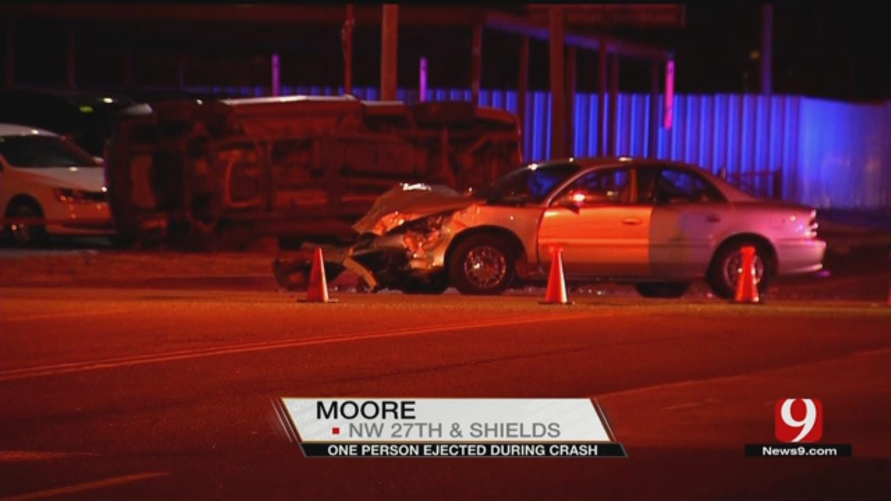 1 Ejected In Moore Rollover Crash