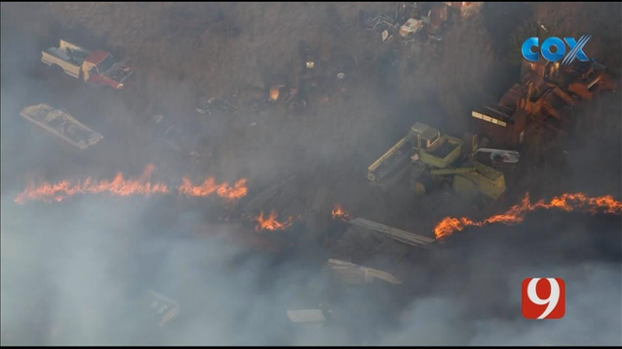 Bob Mills SkyNews 9 Flies Over A Wildfire Near Bridge Creek
