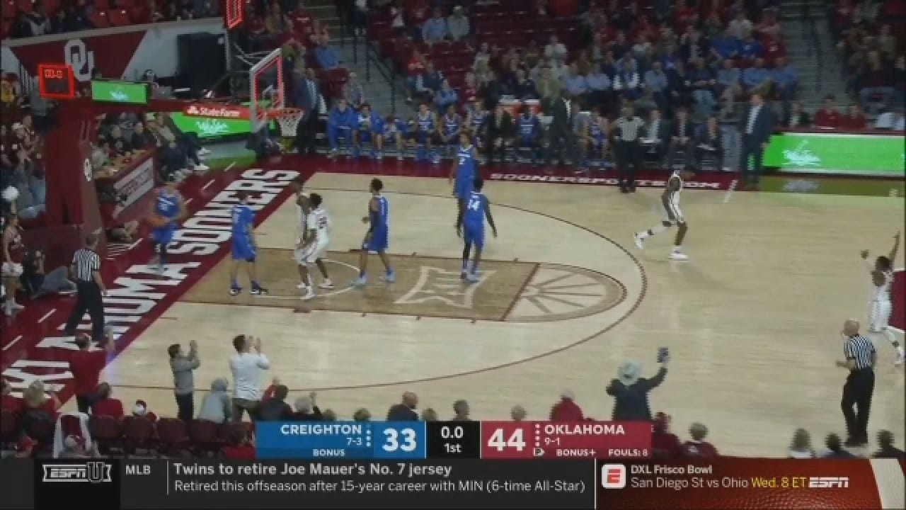 Manek Beats Buzzer To Put Sooners Up Big Over Creighton At Half