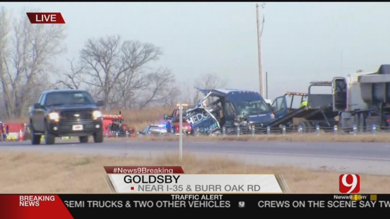 Major Backup On I-35 Following Multi-Vehicle Collision, Fire In Goldsby