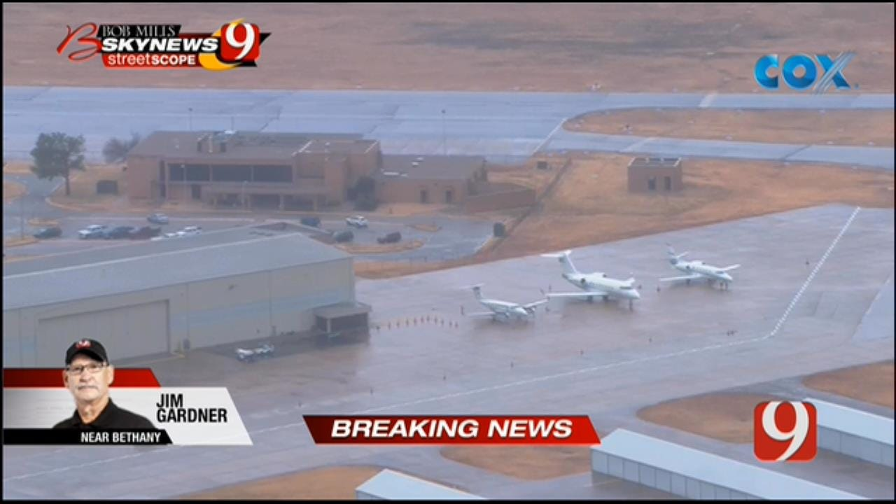 Bob Mills SkyNews 9 Flies Over Reported Bomb Threat At Wiley Post Airport