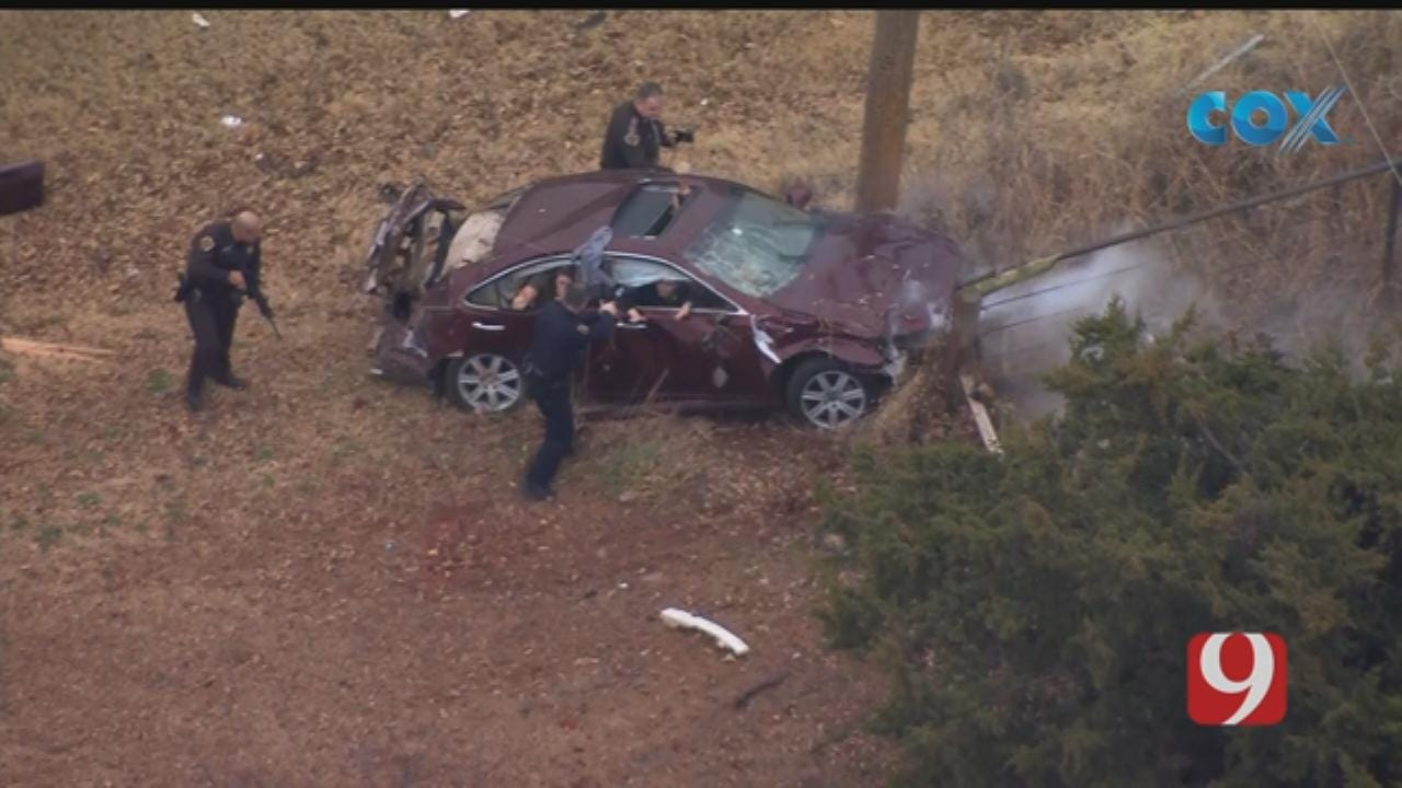 WATCH: Oklahoma City Metro Police Chase Ends In Crash
