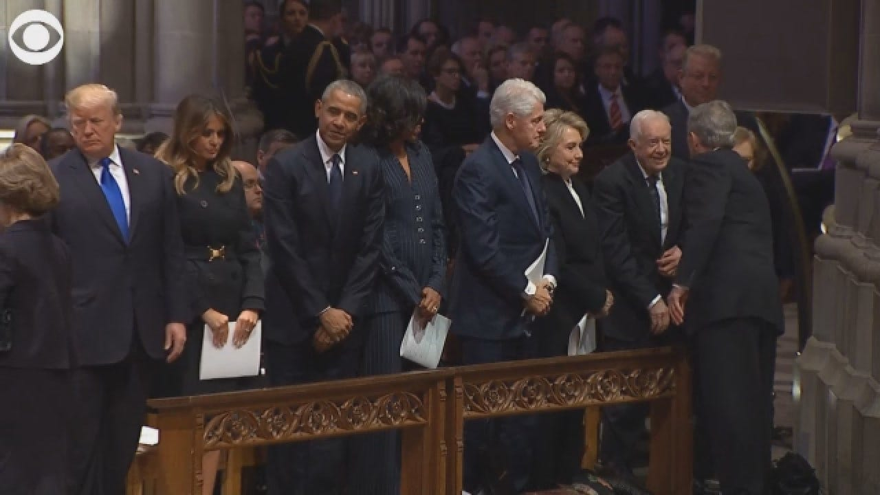 Former President George W Bush Greets Presidents At His Father's Funeral