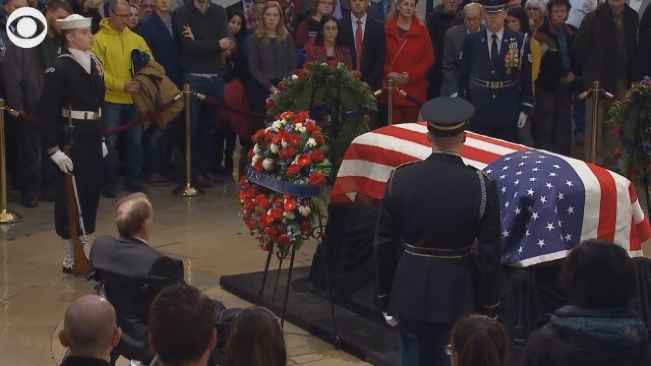 Bob Dole Salutes Former President HW Bush's Casket