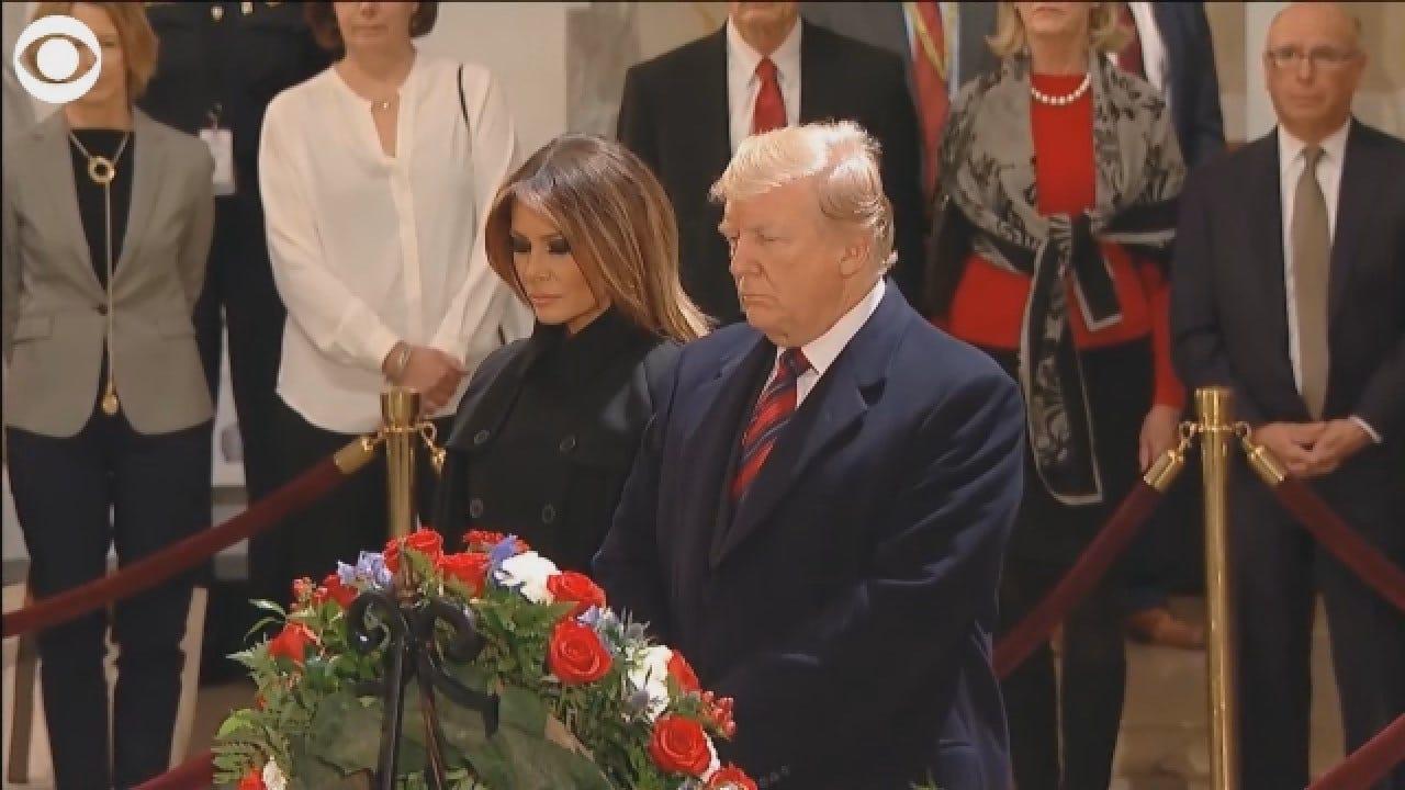 President Trump Salutes Former President HW Bush's Casket At Capitol Rotunda