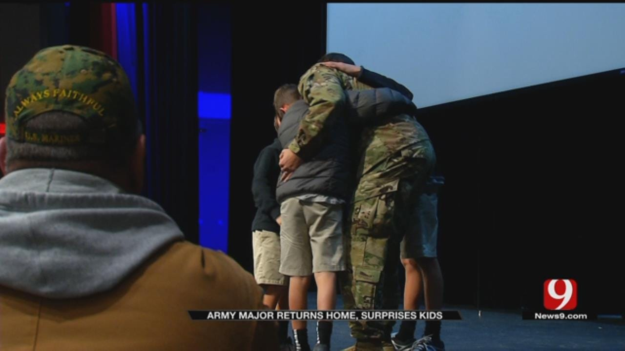 Army Major Returns Home, Surprises Kids At OKC School Assembly