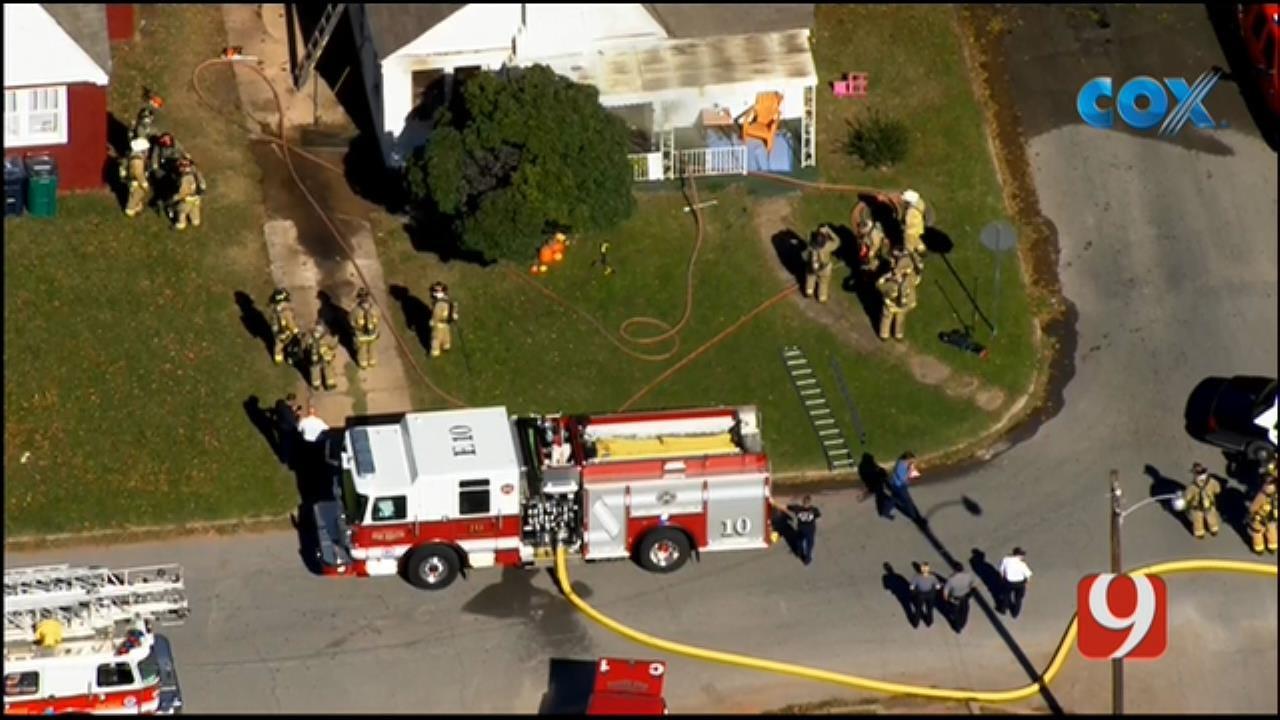 Bob Mills SkyNews 9 Flies Over A NW OKC House Fire