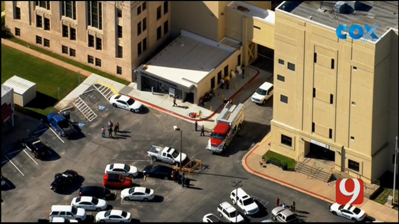 Bob Mills SkyNews 9 Flies Over A White Powder Investigation At Grady Co. Courthouse