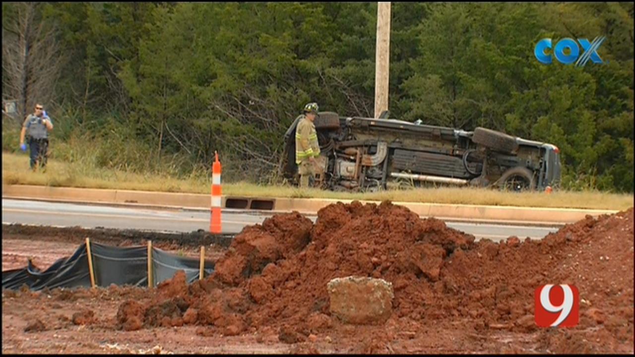 Emergency Crews Respond To Rollover Crash Near News 9 In OKC