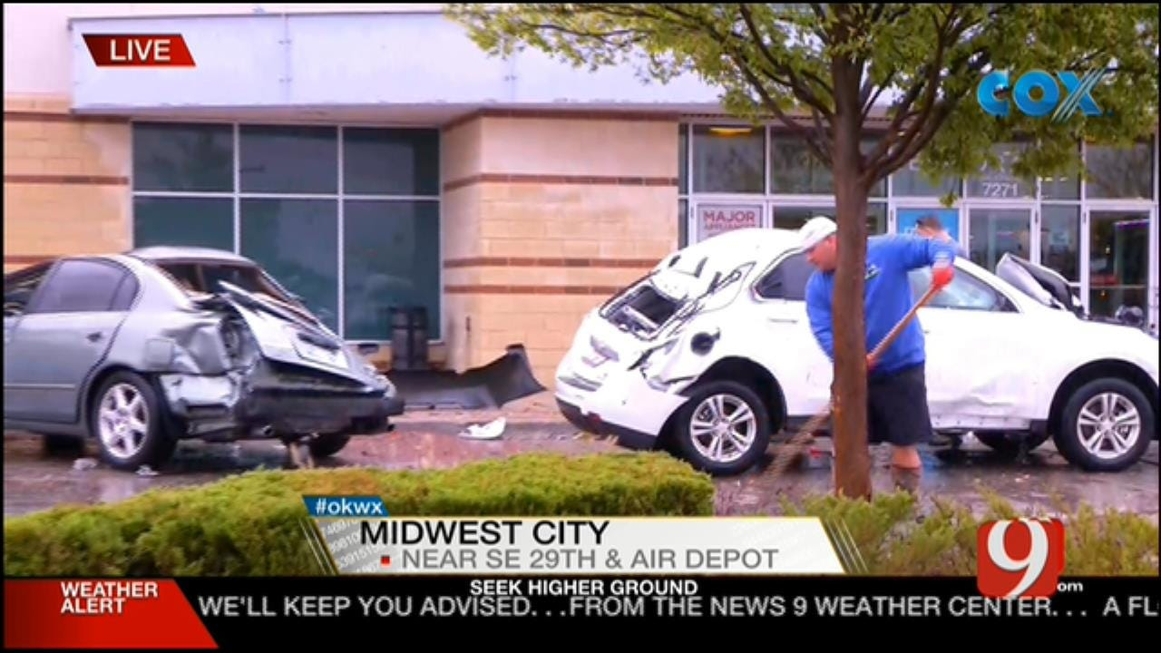 Cars Flipped From Tornado In Midwest City