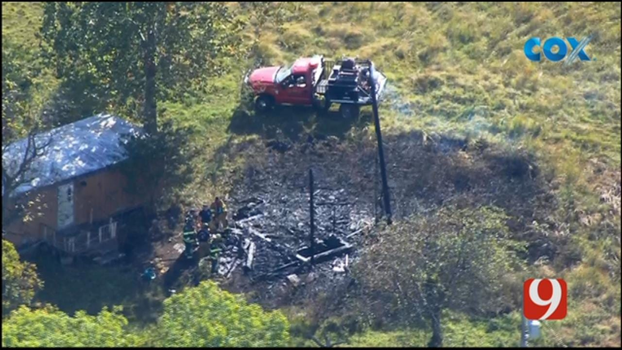 Bob Mills SkyNews 9 Flies Over Fire Near Trailer Home