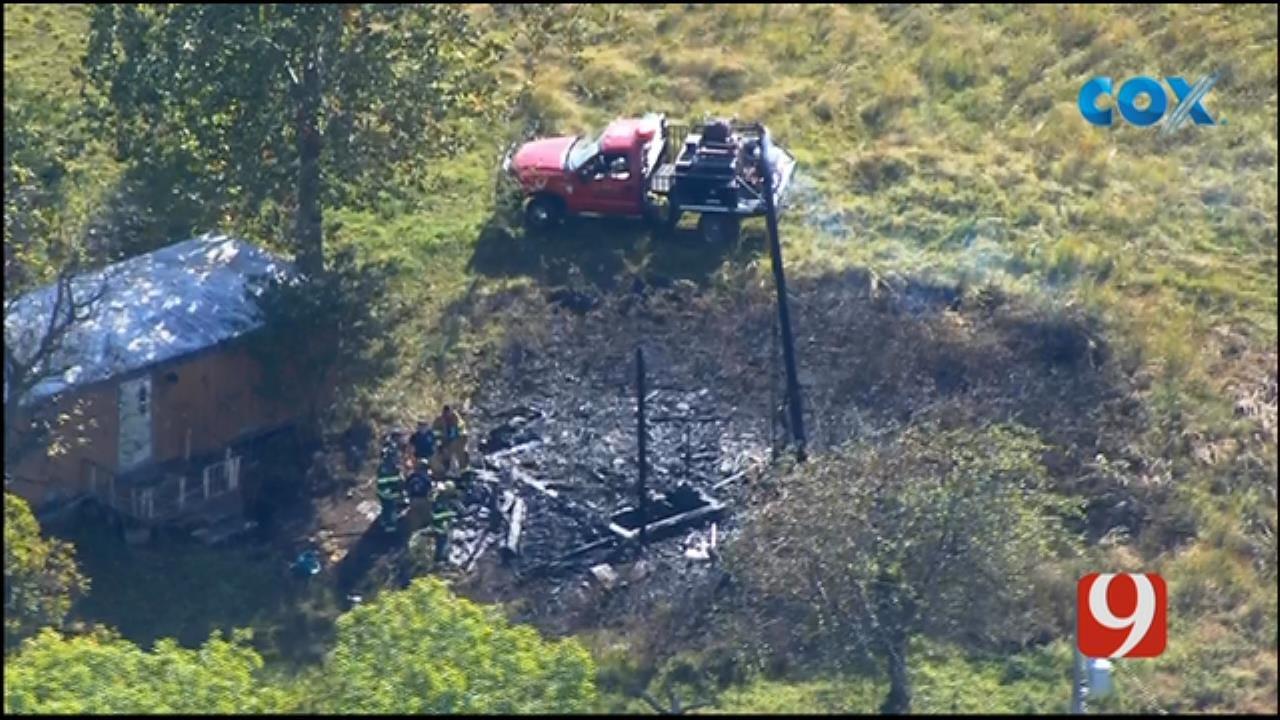 Bob Mills SkyNews 9 Flies Over Fire Near Trailer Home