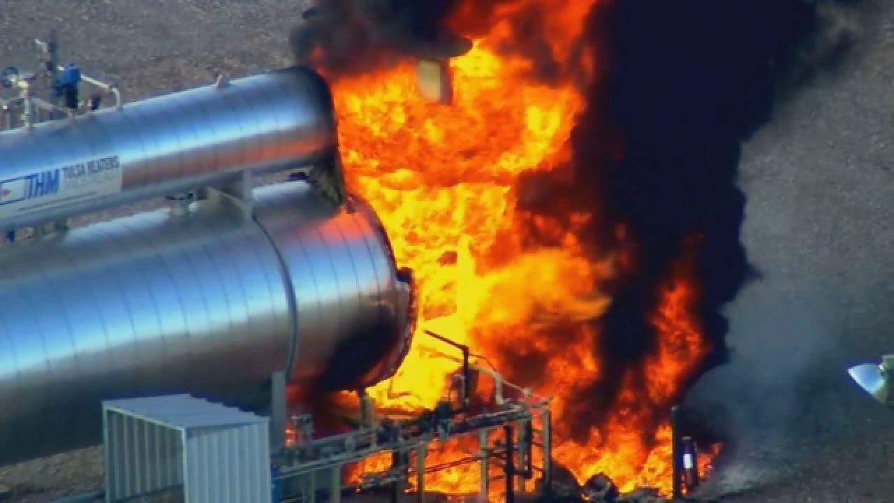WATCH: Oil Tank Fire Near OG&E Plant