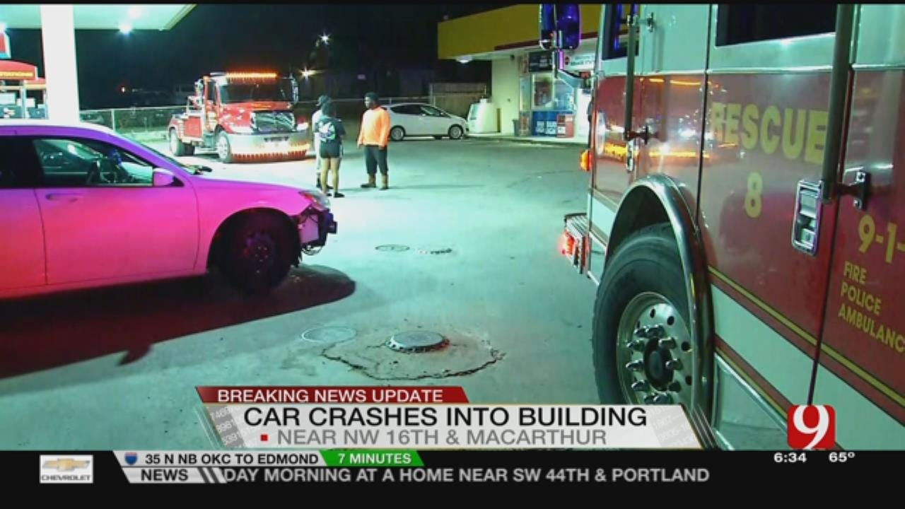 Suspect Arrested After Car Crashes Into Building In NW OKC