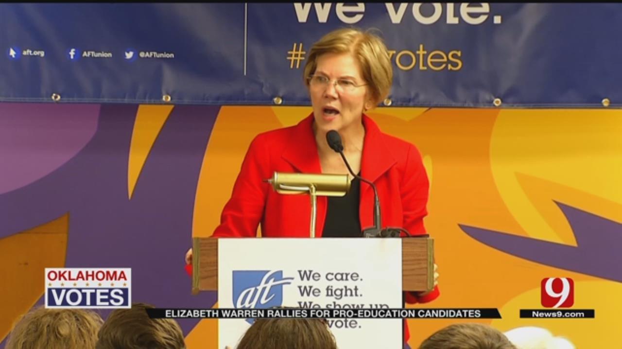 Senator Elizabeth Warren Rallies Teachers In Oklahoma