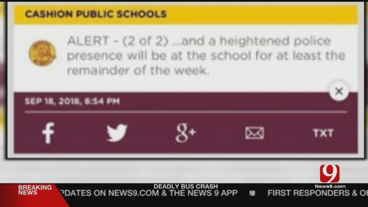 Cashion Police Adding Extra Security After School Threat
