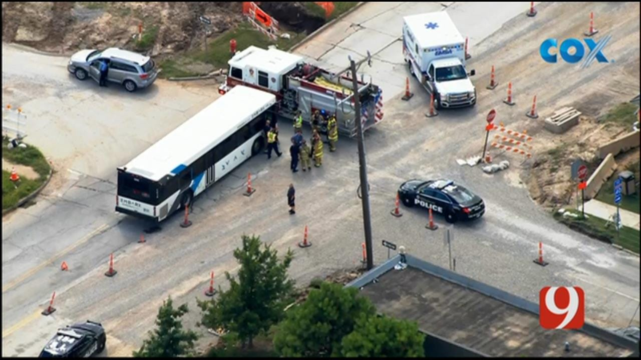 Bob Mills SkyNews 9 Flies Over Bus Crash In Downtown OKC