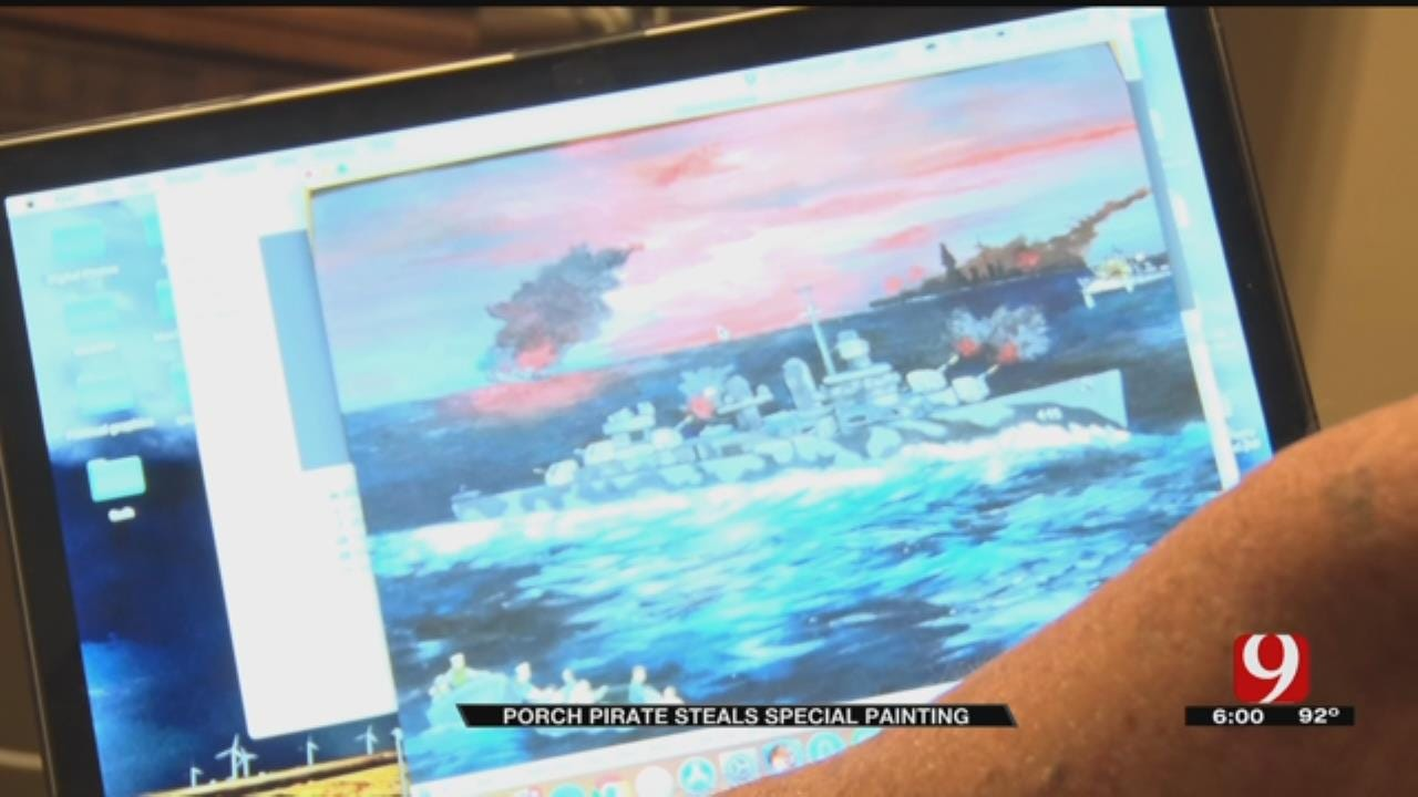 OKC Navy Veteran's One-Of-A-Kind Painting Stolen By Porch Pirate