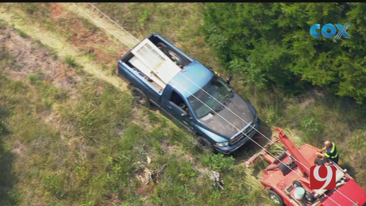 Bob Mills SkyNews 9 Flies Over Truck Pulled From Pott Co. Pond After Chase