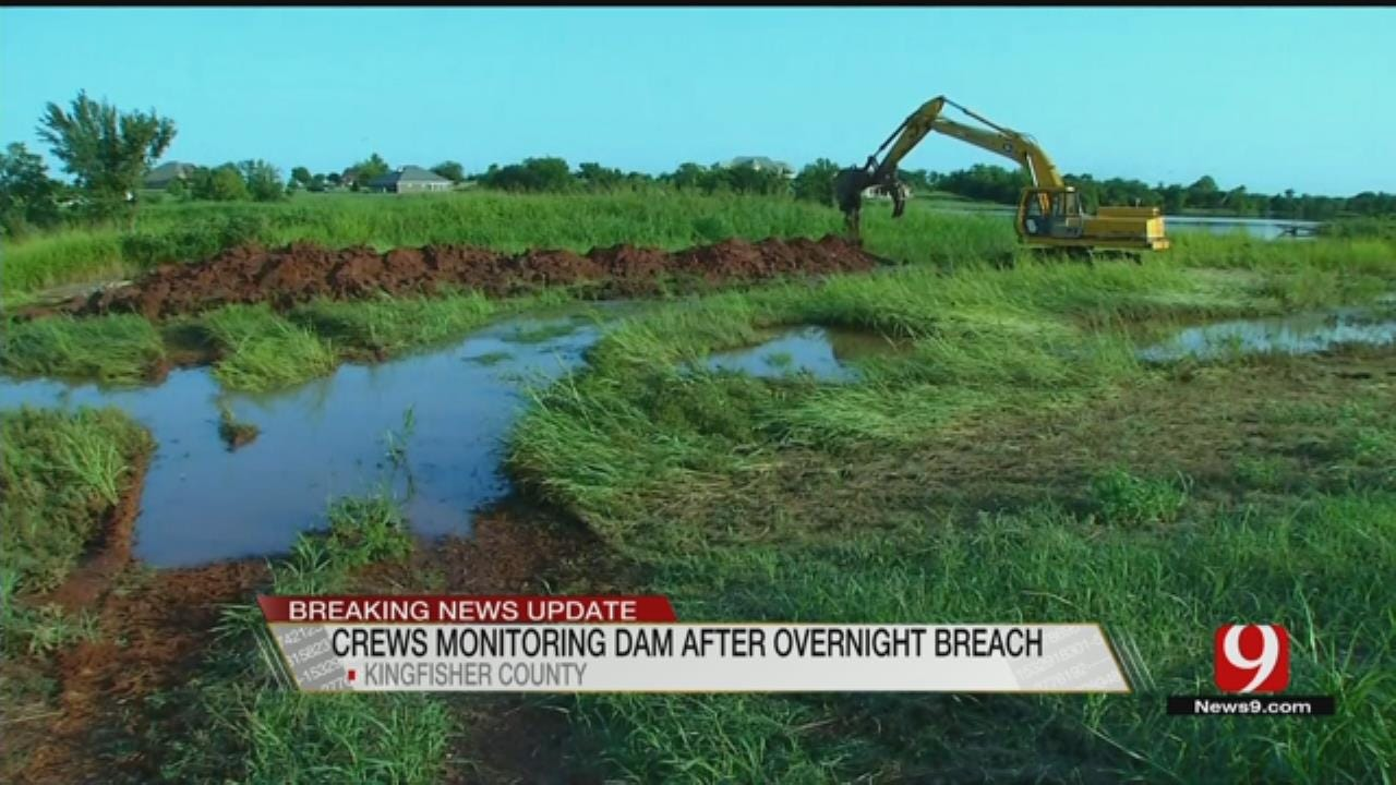 Crews Monitoring Kingfisher Dam After Breach