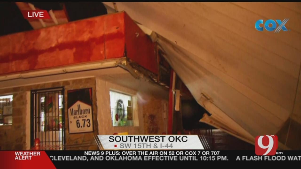 Gas Station Awning Crashes Down After Severe Storm In SW OKC