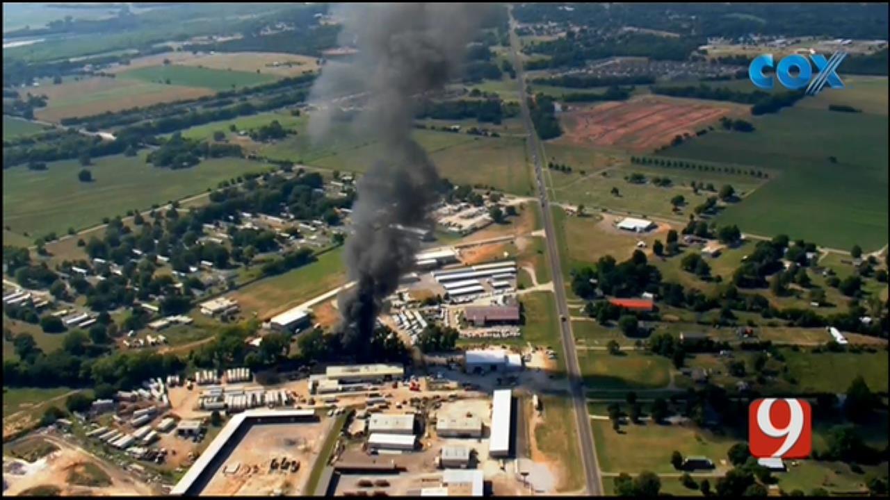 WEB EXTRA: Bob Mills SkyNews 9 Flies Over Large Fire