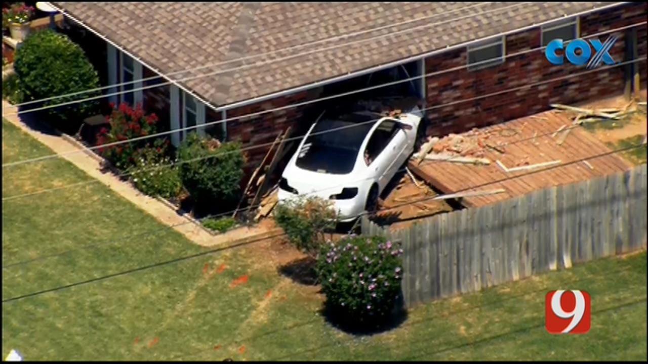 WEB EXTRA: Bob Mills SkyNews 9 Over Scene Of Car Crash Into Yukon Home