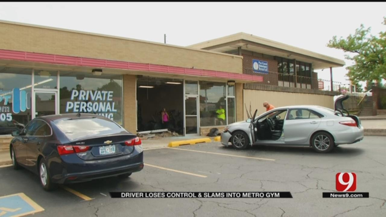 Driver Loses Control And Slams Into Metro Gym