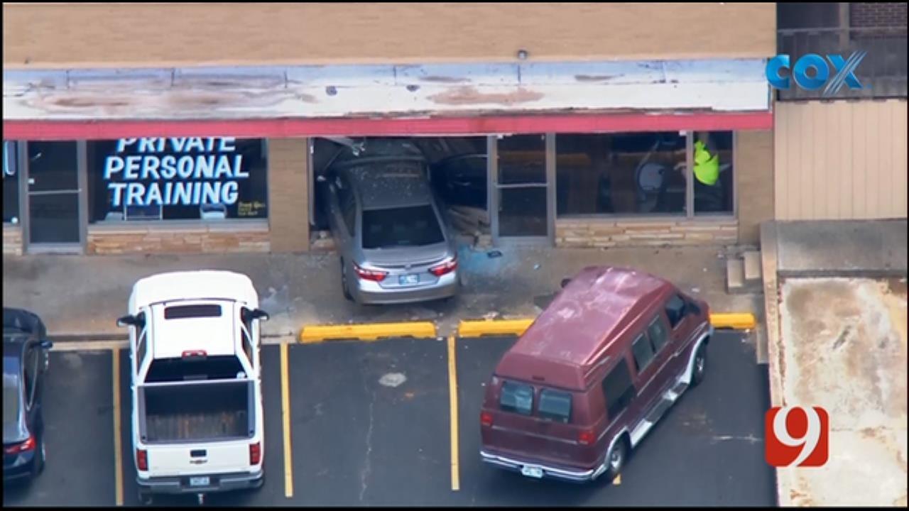 WEB EXTRA: Car Crashes Into NW OKC Business