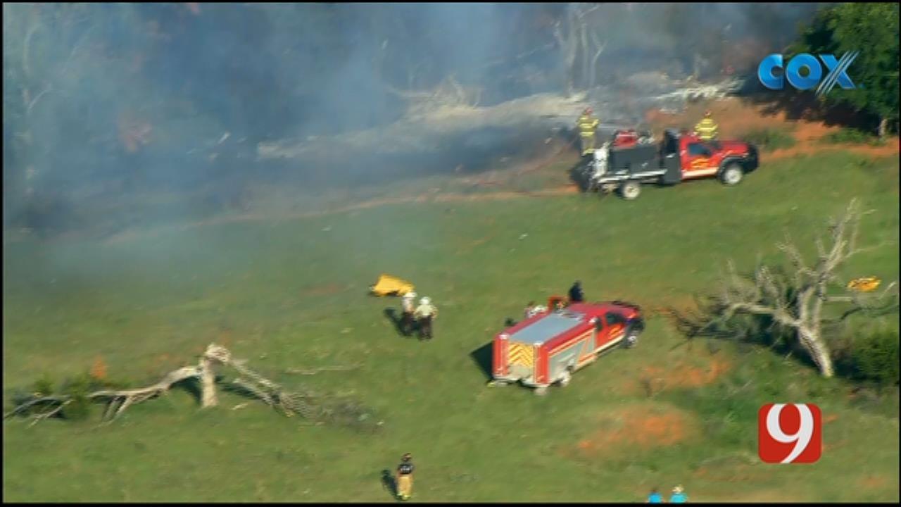 WEB EXTRA: Bob Mills SkyNews 9 Flies Over Plane Crash In Canadian County