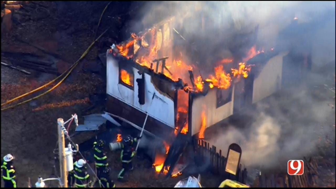WEB EXTRA: SkyNews 9 Flies Over Mobile Home Fire SW Of Guthrie
