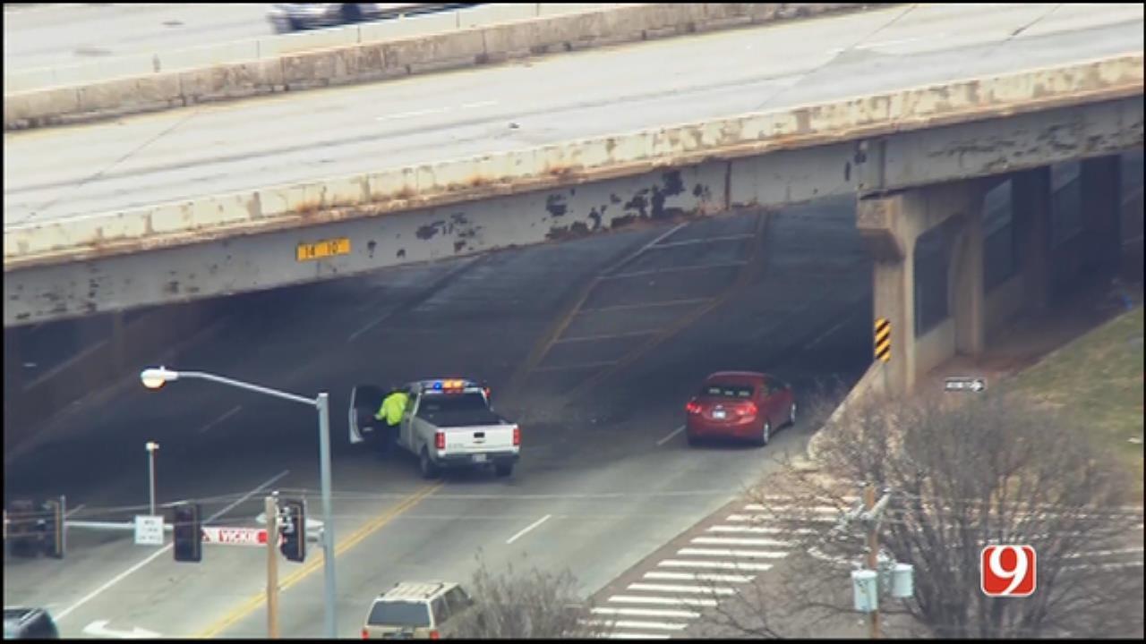 WEB EXTRA: Bob Mills SkyNews 9 Flies Over Hole In Bridge Near Del City