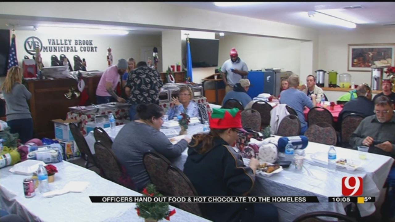 Valley Brook PD Provide Food, Cocoa To Homeless On Christmas Eve