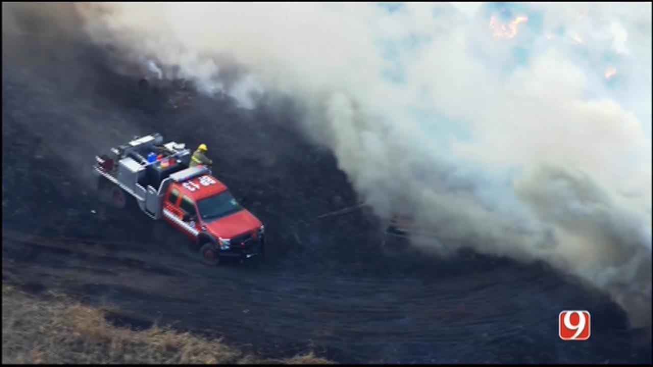 WEB EXTRA: Bob Mills SkyNews 9 Flies Over Wildfire In SE OKC