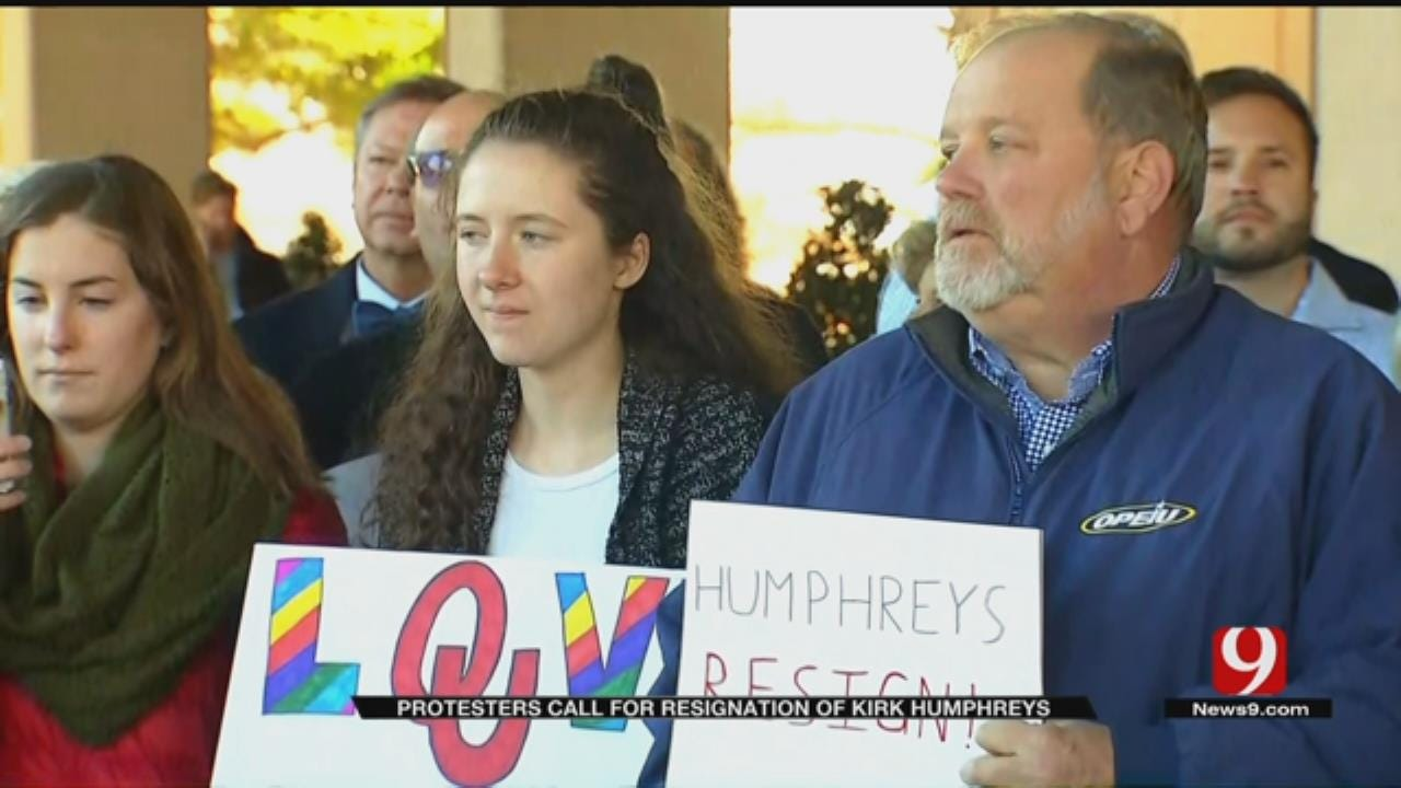 Protesters Rally For Resignation Of OU Regent Kirk Humphreys