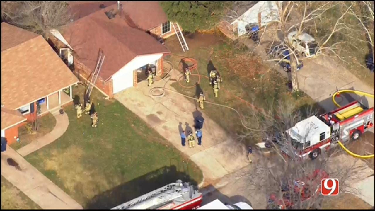 WEB EXTRA: Bob Mills SkyNews 9 Flies Over House Fire In NW OKC
