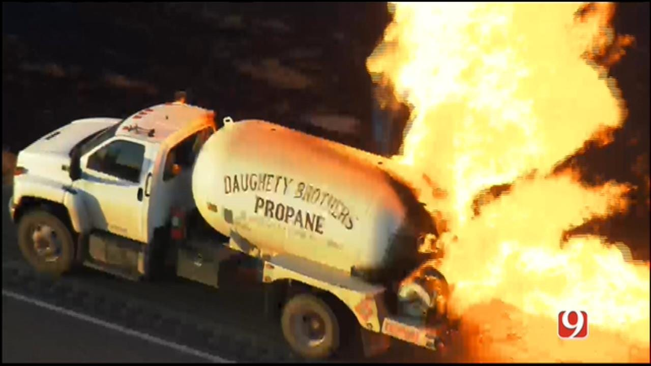 WEB EXTRA: SkyNews 9 Flies Over Scene Of Propane Truck Fire