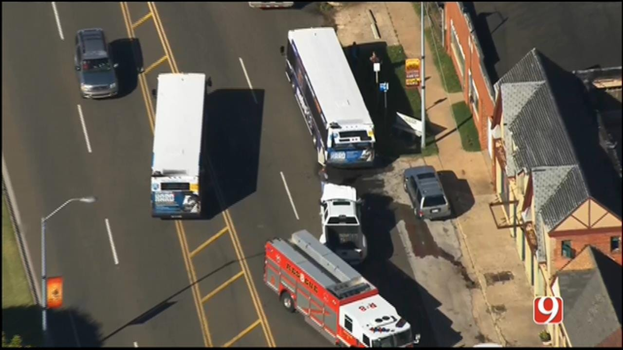 WEB EXTRA: Injury Crash Involving City Bus Reported In SW OKC