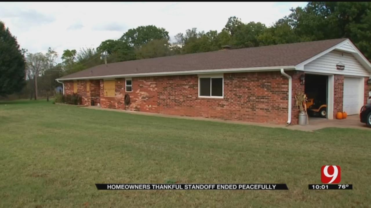 Standoff Damages Harrah Home