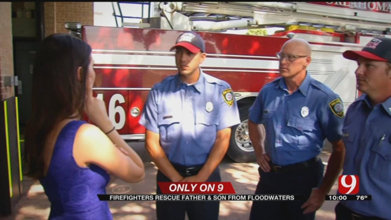 OKC Firefighters Rescue Father, Son From Floodwaters