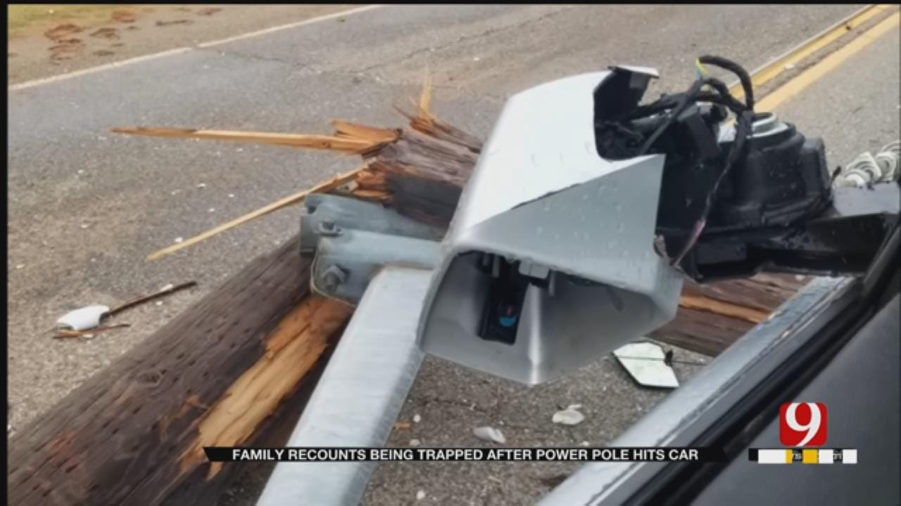 OK Family Trapped In Car For 3 Hours Due To Fallen Power Pole