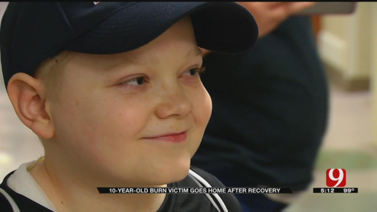 10-Year-Old Little Axe Burn Victim Walks Out Of Hospital After 8 Months Of Recovery