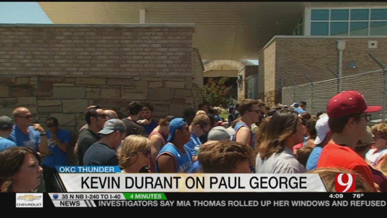 George Arrives In OKC To Adoring Fans