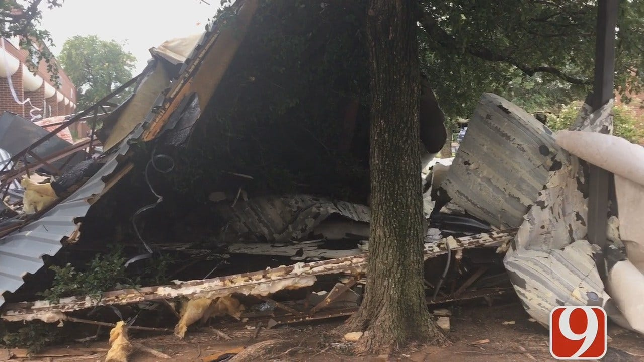 Damage Cleanup Underway In OKC After Monday Night's Storm