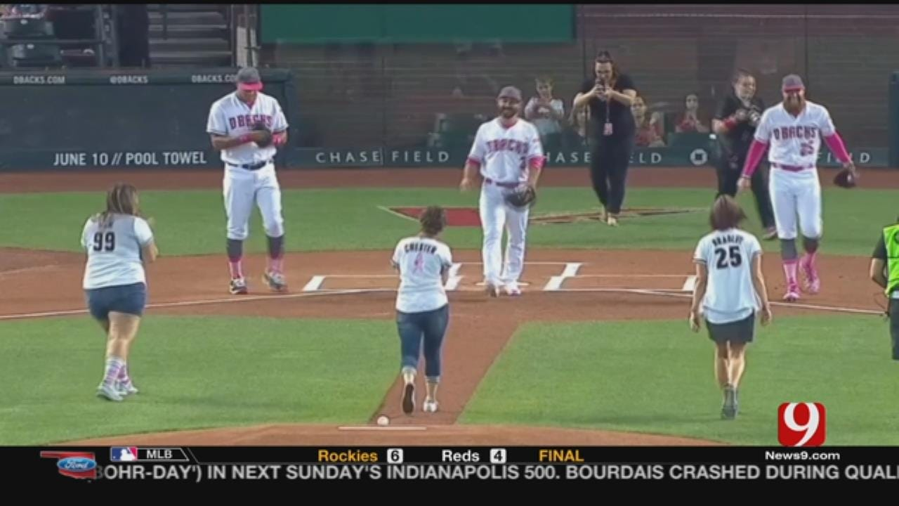 Pam Bradley Throws Out First Pitch On Mother's Day
