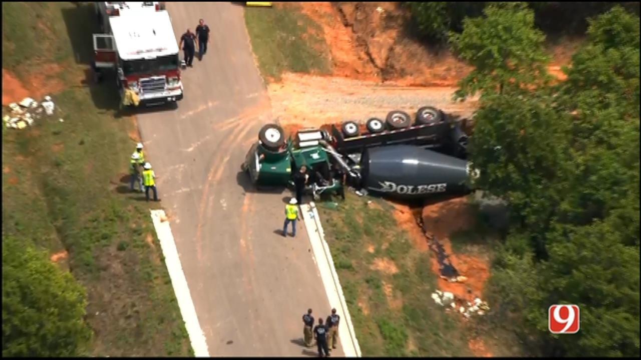 WEB EXTRA: Bob Mills SkyNews 9 Flies Over Cement Truck Crash In SE OKC